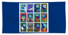 Cat Zodiac Paintings  Beach Towel