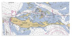Cayo Costa Nautical Chart Beach Towel