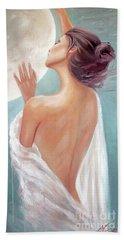 Celestial Moon Goddess Beach Towel