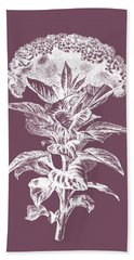Celosia Purple Flower Beach Towel