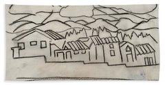 Charcoal Houses Sketch Beach Towel
