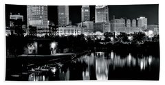 Charcoal Night View Of Cleveland Beach Towel