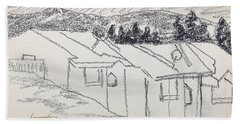 Charcoal Pencil Houses1.jpg Beach Towel