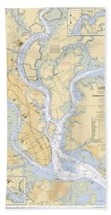 Charleston Harbor, Noaa Chart 11524 Beach Towel