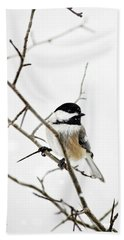 Charming Winter Chickadee Beach Towel