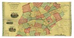 Chester County Pennsylvania Map 1856 Beach Towel