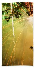 Yellow Fireworks Beach Towel