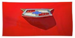 Chevrolet Emblem On A 55 Chevy Trunk Beach Towel
