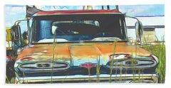 Chevy Truck In The Junkyard Beach Towel