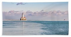 Chicago Harbor Light Landscape Beach Towel