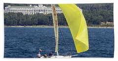 Chicago To Mackinac Yacht Race Sailboat With Grand Hotel Beach Towel