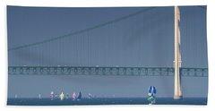 Chicago To Mackinac Yacht Race Sailboats With Mackinac Bridge Beach Sheet