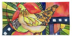 Chicken Red Beach Towel