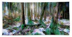 Beach Towel featuring the digital art Chorus Of Trees by Edmund Nagele
