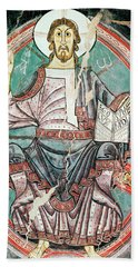 Christ Pantocrator, Sant Climent Of Taull, 7th Century. Anonymous. Climent De Tauell . Cristo Juez. Beach Towel