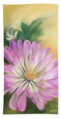 Chrysanthemum Blossom With Bud And Leaf Beach Sheet