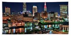 Cleveland Iconic Night Lights Beach Towel