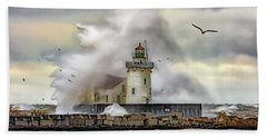 Cleveland Lighthouse Storm  Beach Towel