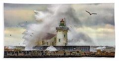 Cleveland Lighthouse Storm  Beach Towel