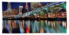 Cleveland Ohio Skyline Reflects Colorfully Beach Towel