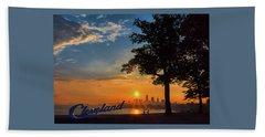 Cleveland Sign Sunrise Beach Towel
