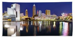 Cleveland Skyline At Dusk Rock Roll Hall Fame Beach Towel