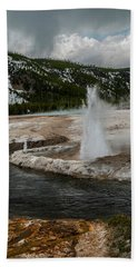 Beach Towel featuring the photograph Cliff Geyser by Matthew Irvin