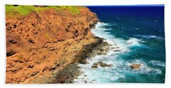 Cliff On Pacific Ocean Beach Towel