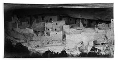 Beach Towel featuring the photograph Cliff Palace In Black And White by Jon Burch Photography