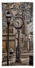Clock On Street Beach Towel