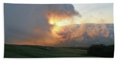 Beach Towel featuring the photograph Cloud Bank And Sunset by PJ Boylan