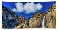 Clouds Abover Upper Yosemite Fall Beach Towel