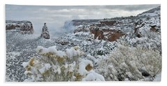 Clouds Break Over Snow Covered Independence Canyon Beach Towel