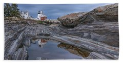 Cloudy Afternoon At Pemaquid Point Beach Towel