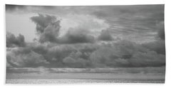 Cloudy Morning Rough Waves Beach Towel