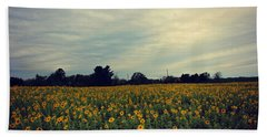 Cloudy Sunflowers Beach Towel