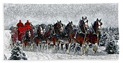 Clydesdales Hitch In Snow Beach Towel