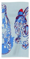 Coca-cola Bottle And Hare Art Print Beach Towel