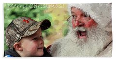 Beach Towel featuring the photograph Cody Santa Greeting by Jerry Sodorff