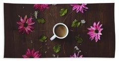 Coffee And Flowers Beach Towel