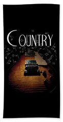 Color Country Music Guitar Notes Beach Towel