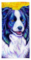 Colorful Border Collie Dog Beach Sheet