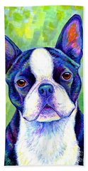 Colorful Boston Terrier Dog Beach Towel