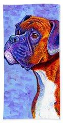 Colorful Brindle Boxer Dog Beach Sheet