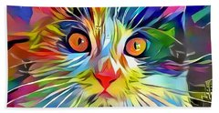 Colorful Calico Cat Beach Towel
