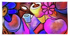 Colorful Flowerpots Abstract Beach Towel