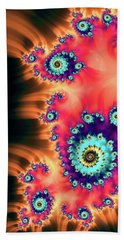 Beach Towel featuring the digital art Colorful Fractal Art Orange Red Turquoise by Matthias Hauser