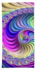 Colorful Fractal Spiral With Stripes Beach Towel