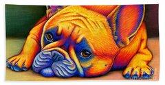 Colorful French Bulldog Beach Sheet