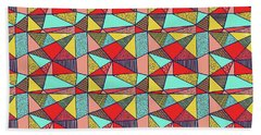 Colorful Geometric Abstract Pattern Beach Towel